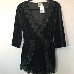 Black Velvet Romper - H&M - Size 6